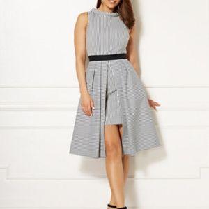 Eva Mendes Freya Black and White Striped Dress